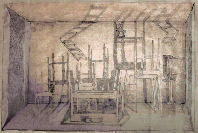 Robert Hansen Drawing For Miss Julie Set Design